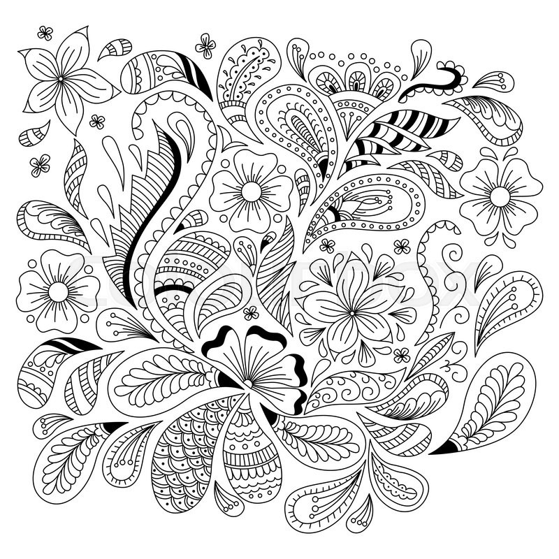 Abstract Floral Background In Doodle Style Cover Coloring Page Vector