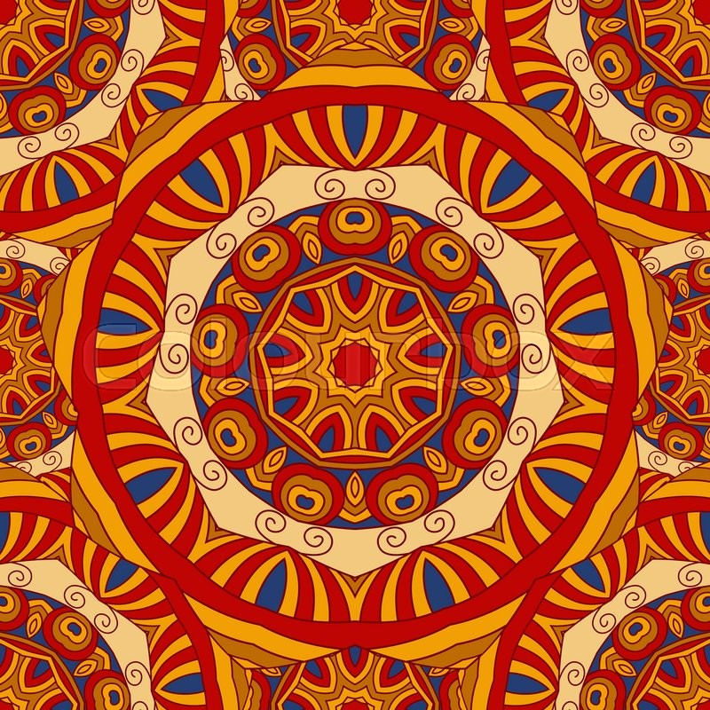 Seamless Colorful Vector Ethnic Ornate Background Islam