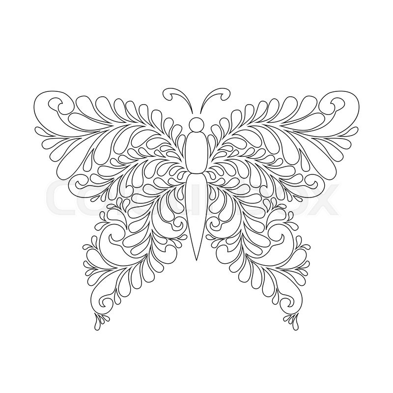 Cute cartoon butterfly with ornament. ... | Stock Vector ...