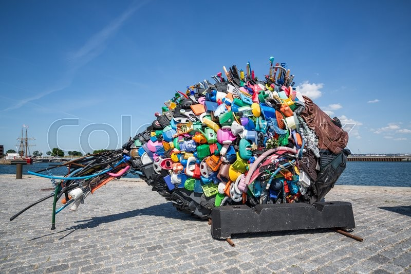Fish Sculpture Created From Trash Found In Oresund The Sea Between Denmark And Sweden Located