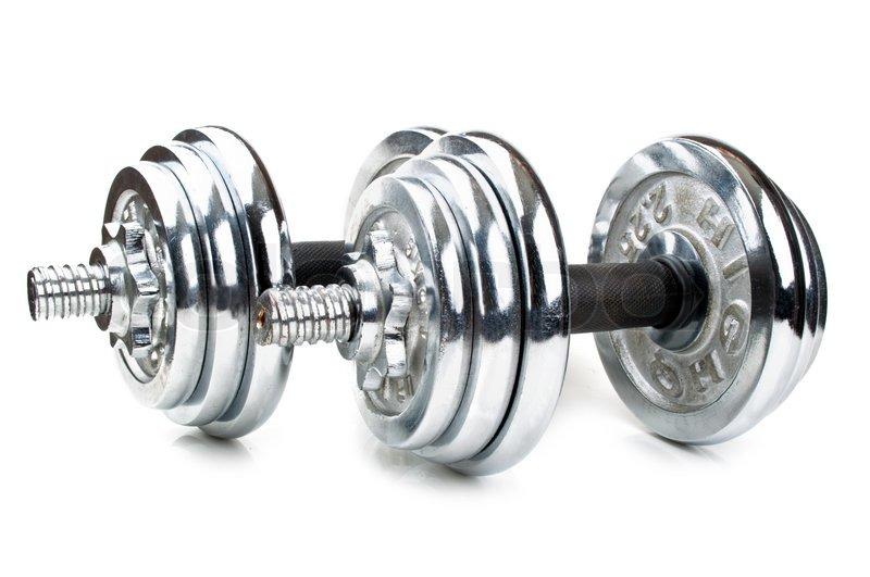 Chromed fitness dumbbell isolated on a white background