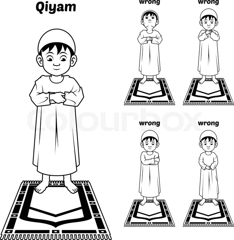 This Image Is A Muslim Prayer Position Guide Step By Step Perform By Boy Standing And Placing