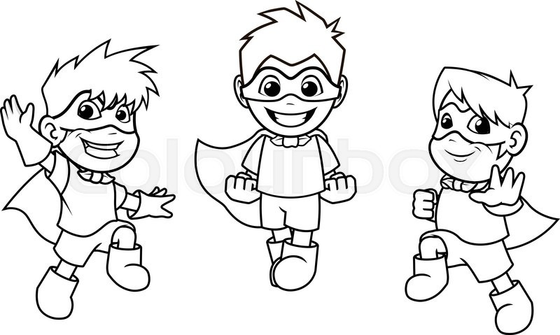 Cartoon Characters Outline : This image is a kid super heroes with jumping flying pose
