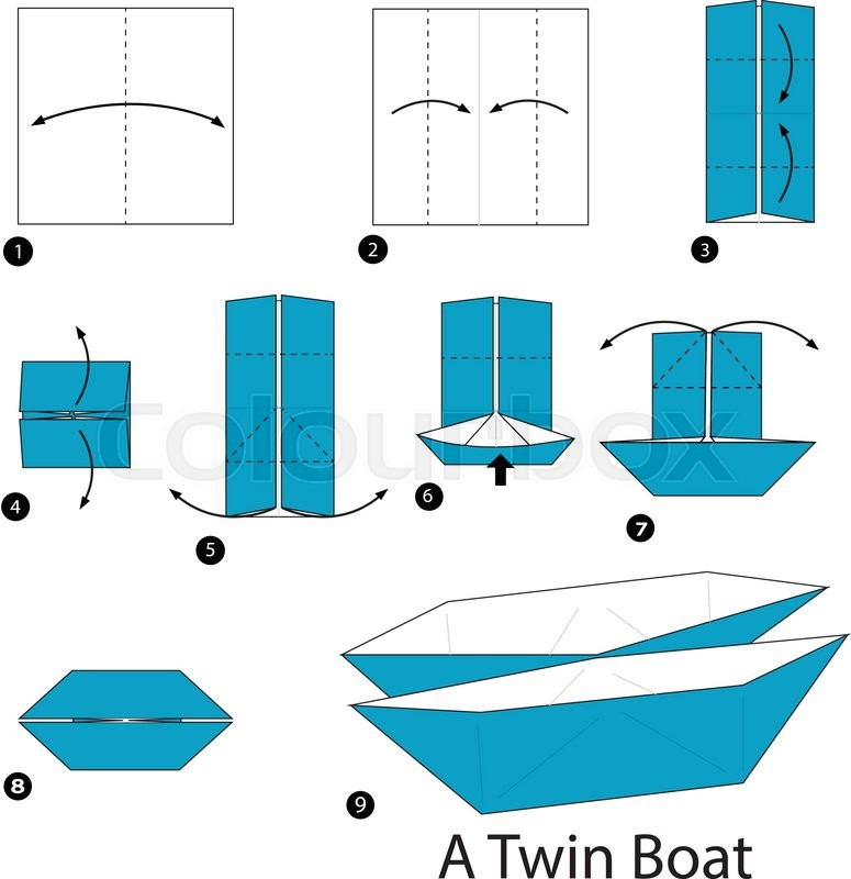 Step By Instructions How To Make Origami A Twin Boat