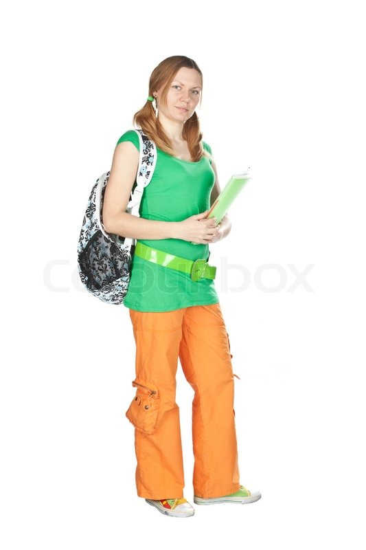 654a2e14b5 Stock image of  Friendly High school girl student standing with backpack  and notebook isolated on
