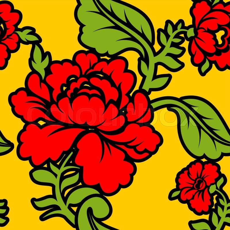 Khokhloma Russian national seamless pattern. Historic ...