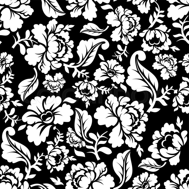 White Rose Seamless Pattern Retro Floral Texture Vintage