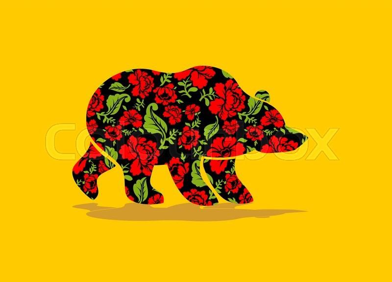 Russian Bear hohloma. National Folk ...   Stock Vector ...