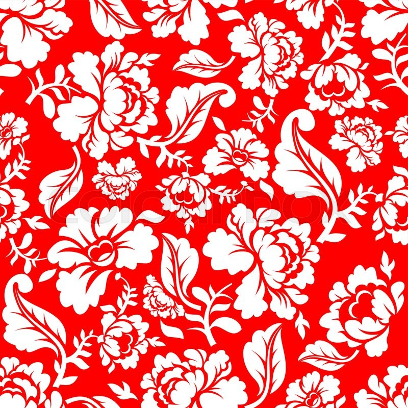 White Rose On Red Background Traditional Russian Ornament Khokhloma Floral Seamless Pattern Vintage Flora Texture