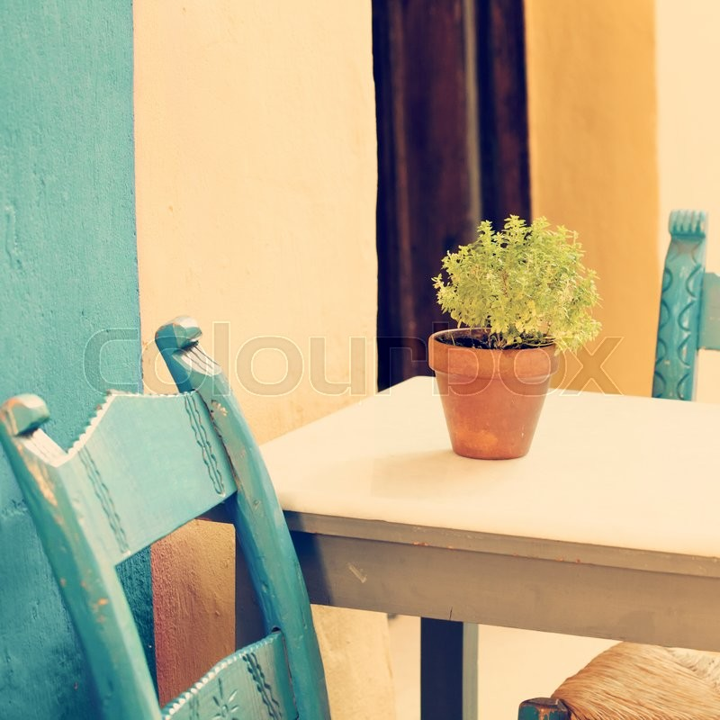 Vintage summer coffee shop in Greece Crete, Chania, stock photo