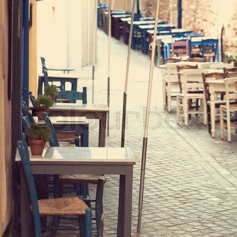 Retro coffee shop in Greece Crete, impressions of Greece, stock photo