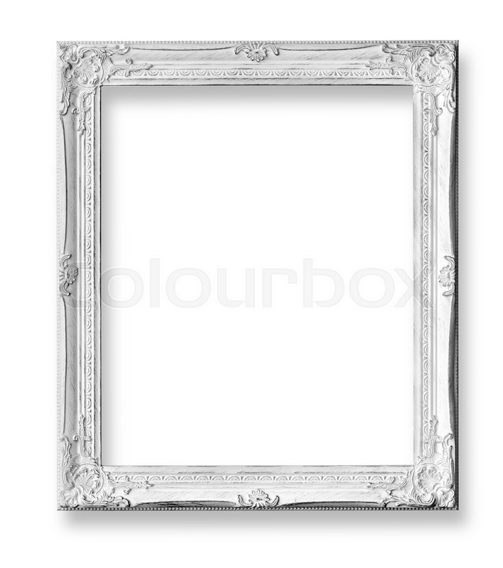 White baroque frame isolated on white background with clipping path ...
