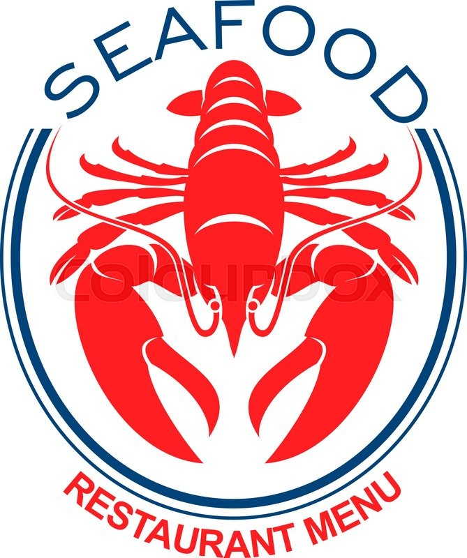Giant Red Lobster Symbol In Double Blue Oval Frame For Design Of