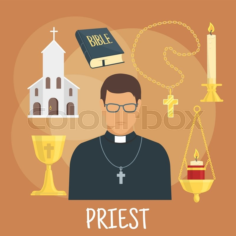 Young Catholic Priest Icon Wearing Black Cassock Glasses And Cross