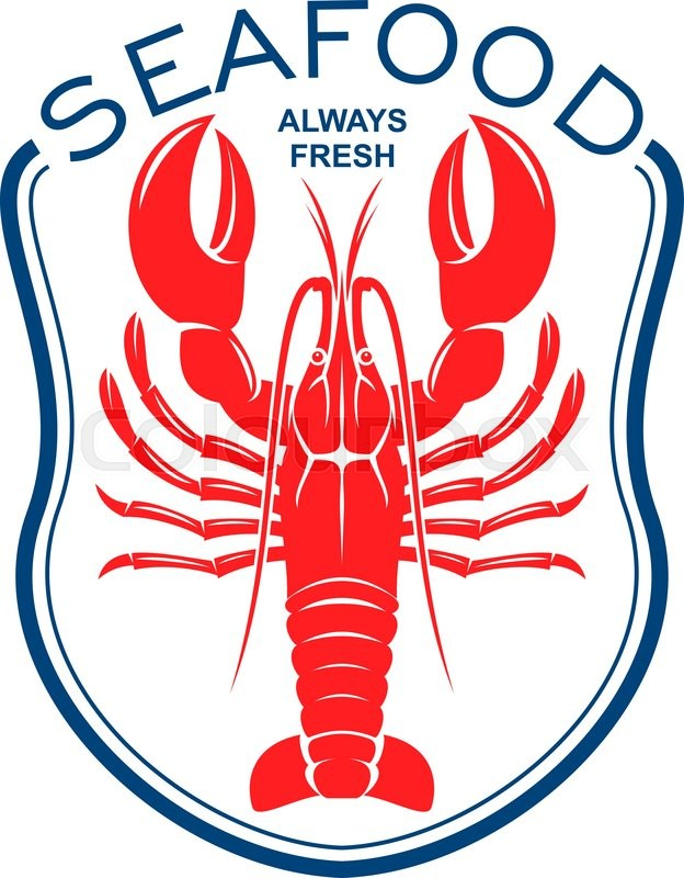 Red Lobster Icon Framed By Blue Bib Topped With Caption Seafood
