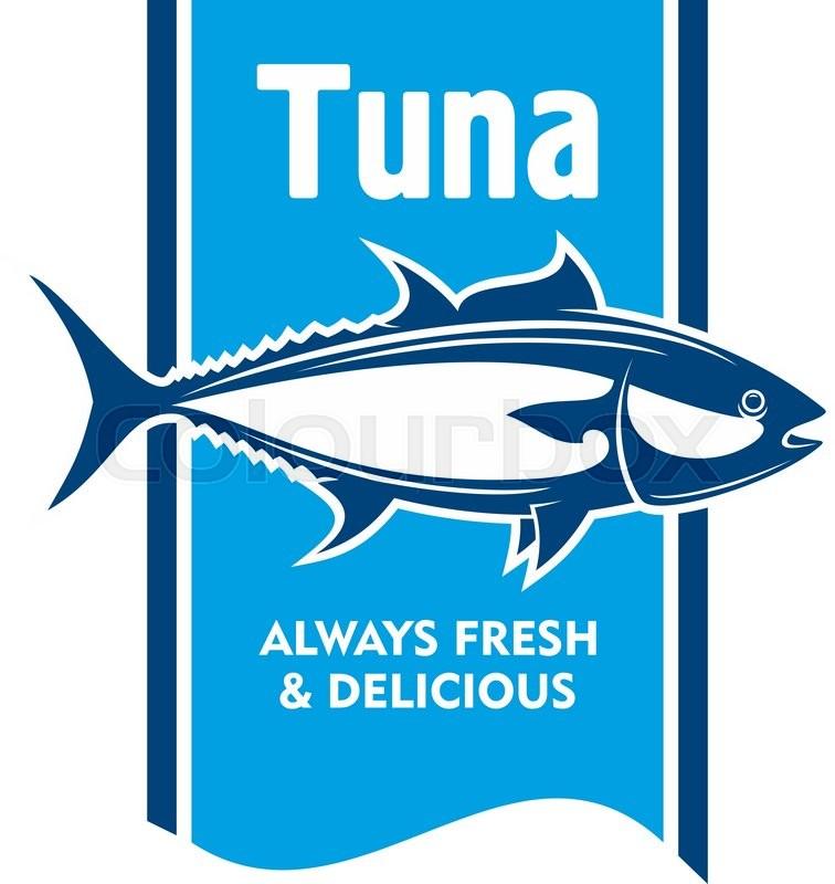 Atlantic bluefin tuna fish retro icon in blue and white for Tuna fish price