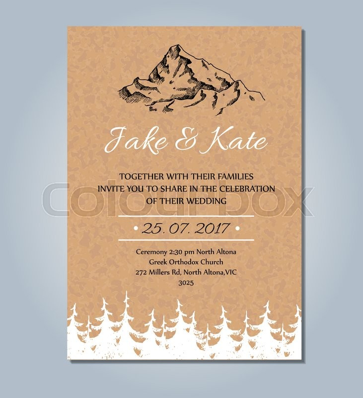 Mountain Wedding Invitation Vector Rustic Card Template Wedding