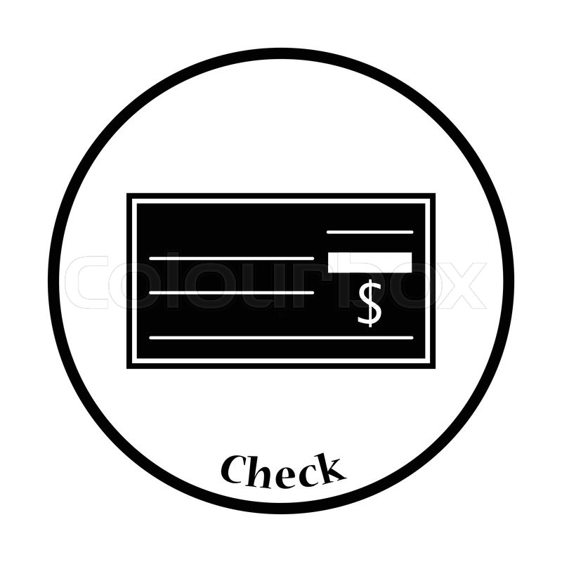 Bank Check Icon Thin Circle Design Vector Illustration Stock