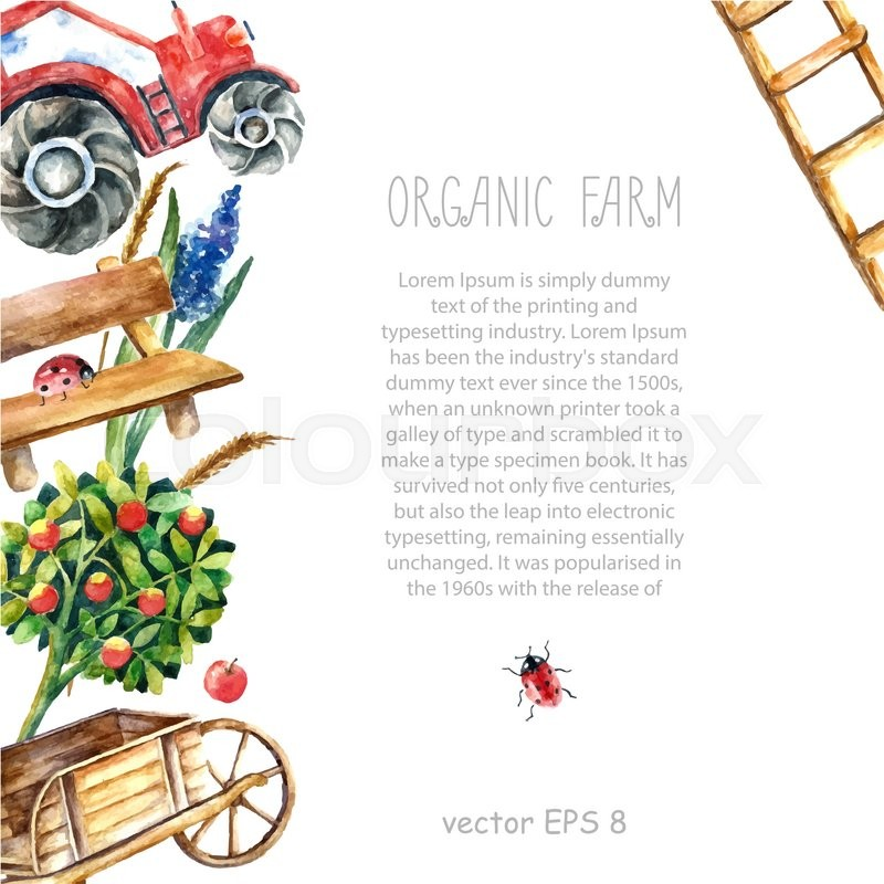 Watercolor organic farm frame. Greeting card background with tractor ...