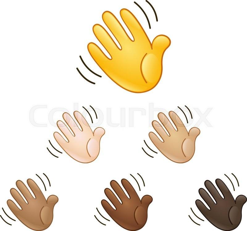 Waving Hand Sign Emoji Set Of Various Skin Tones Stock Vector