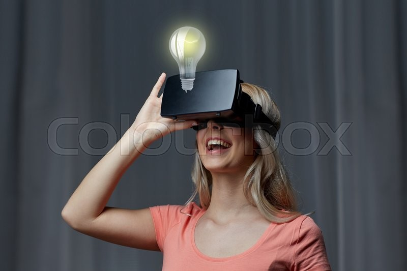 Stock Bild von 'happy, technologie, vr'