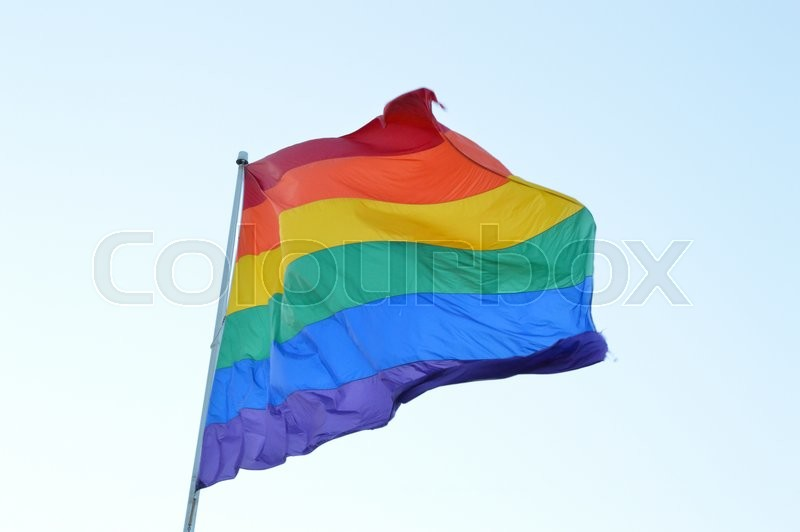 Stock Bild von 'Rainbow flag with the six colors red, orange, yellow, green, blue and purple'
