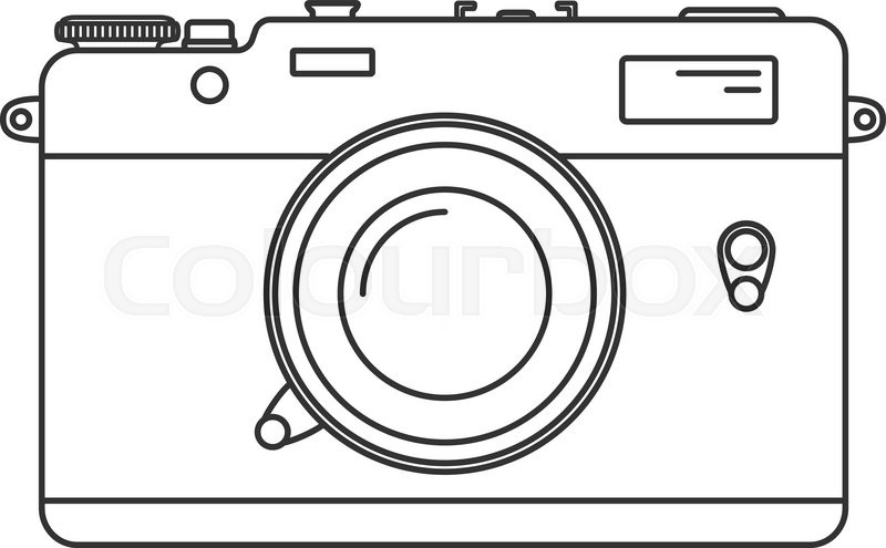 Retro Camera Icon Vintage In Line Art Style Antique Illustration Isolated On White Background Vector