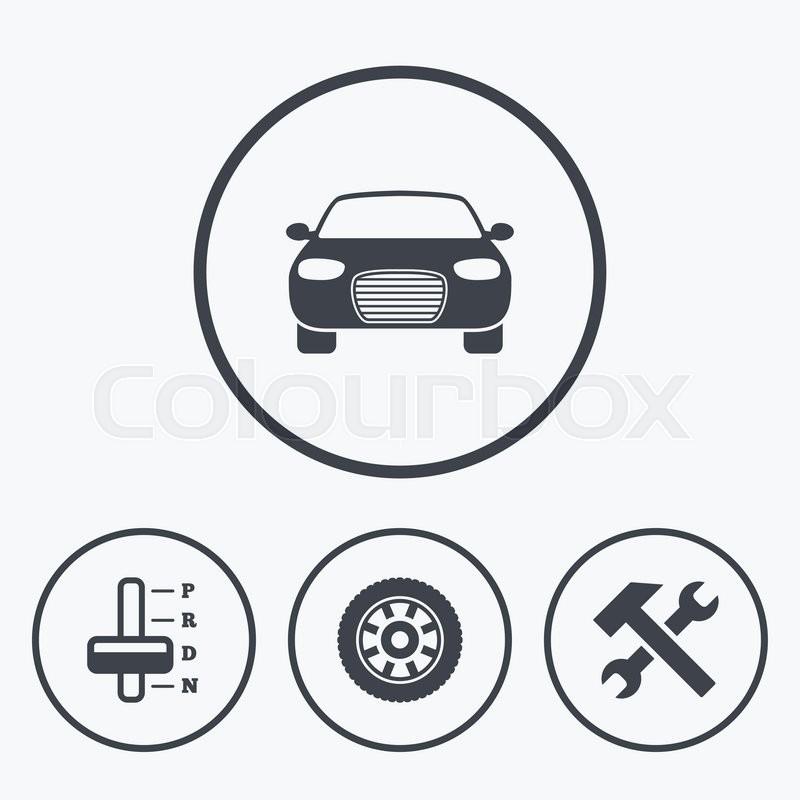 Transport Icons Car Tachometer And Automatic Transmission Symbols