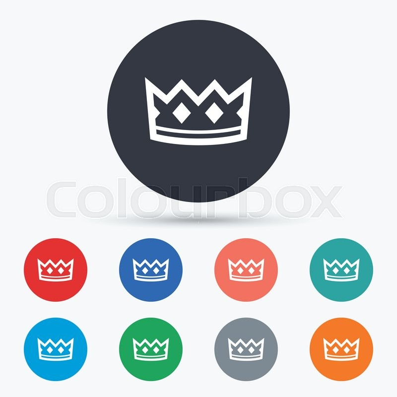 Crown Sign Icon King Hat Symbol Flat Crown Icon Simple Design