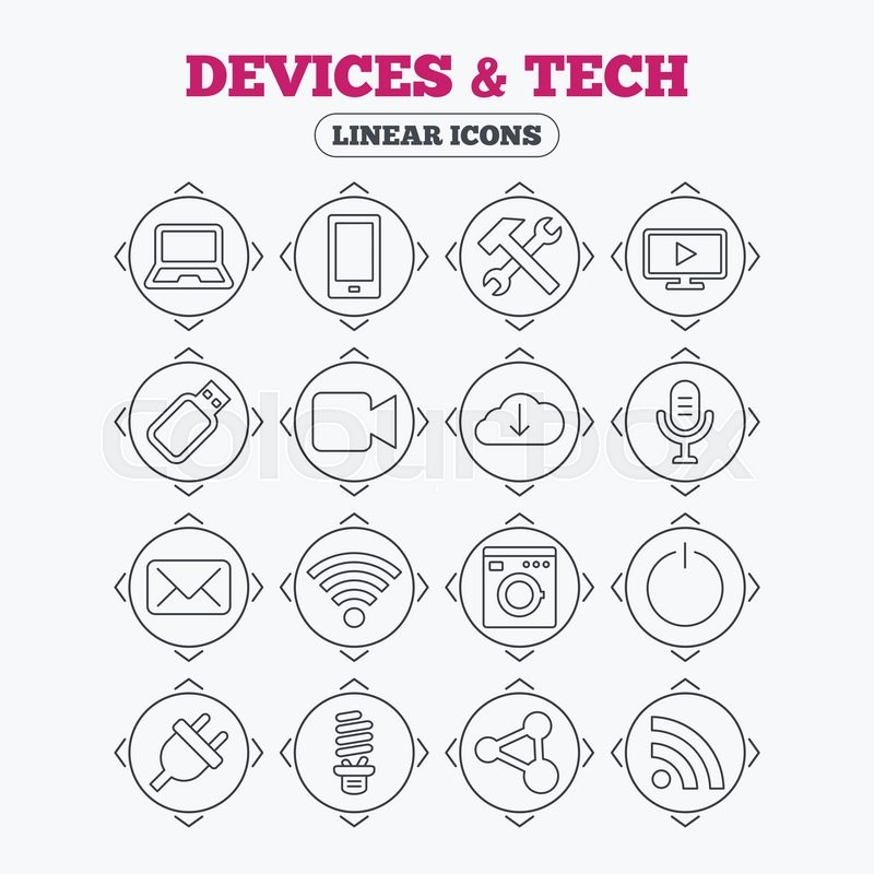 Linear Icons With Direction Arrows Devices And Technologies Icons