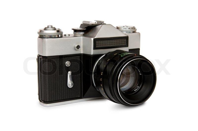 Die alte kamera mit einem stockfoto colourbox