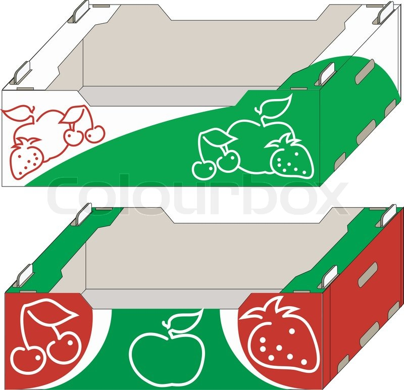 Packing Boxes For Fresh Fruit And Vegetables, Container, Illustration |  Stock Vector | Colourbox