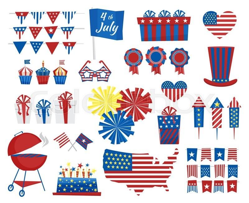 Usa Celebration Cartoon Flat National Symbols Set For Independence
