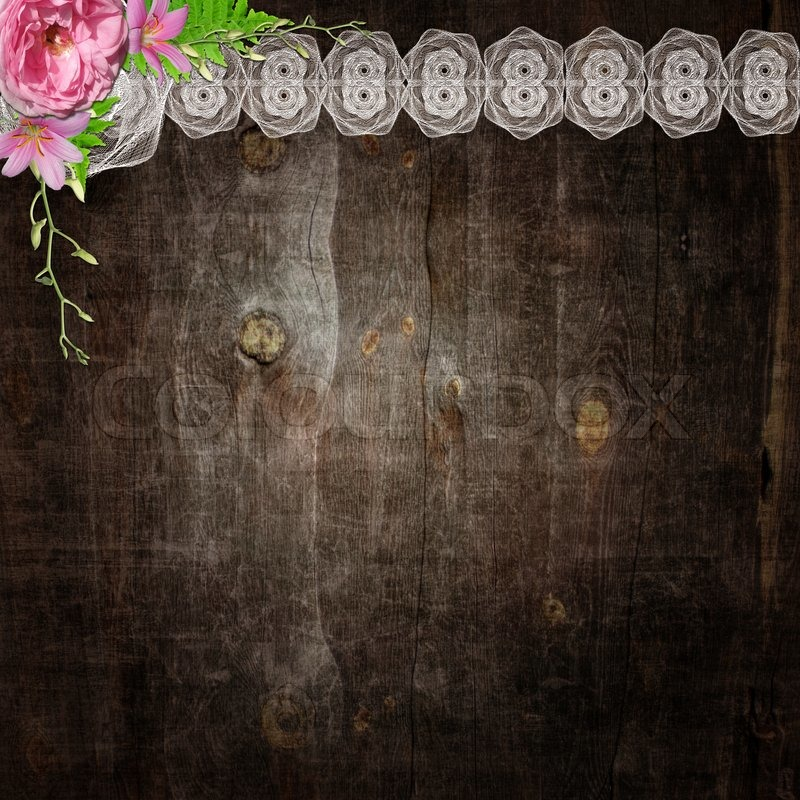 White Lace And Flowers On The Wooden Background