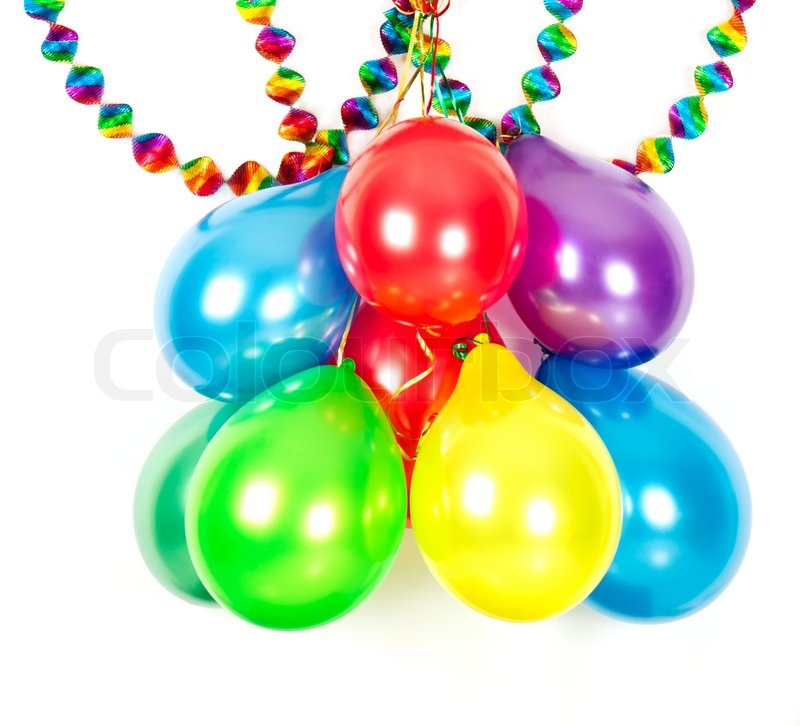 Colorful balloons and garlands. Party decoration stock photo