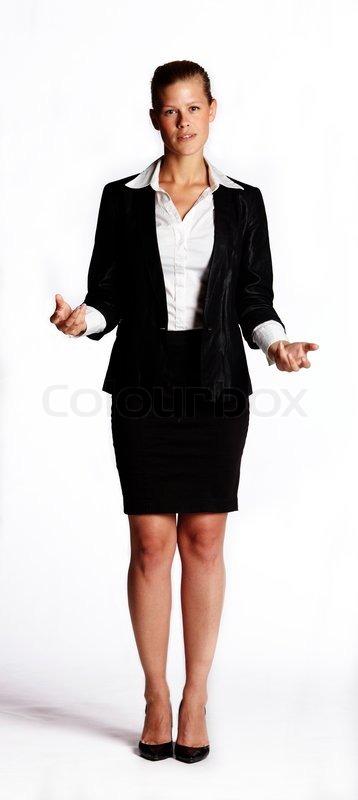eine junge frau ia schwarzen anzug und bleistiftrock i stock foto. Black Bedroom Furniture Sets. Home Design Ideas