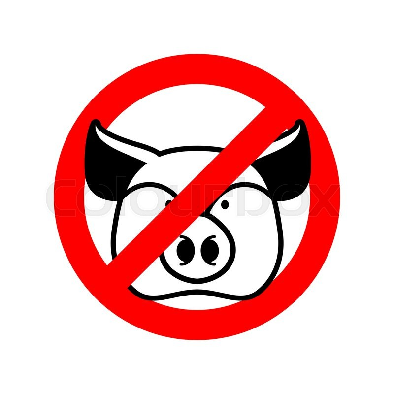 Diet Sign Logo Meat Forbidden Sign Cross Out Ham Stop Food