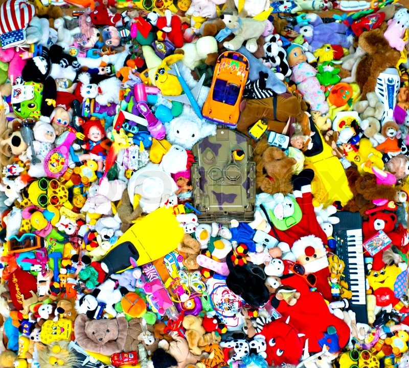 Background Of Multi Color Toys Variety Assortment Stock