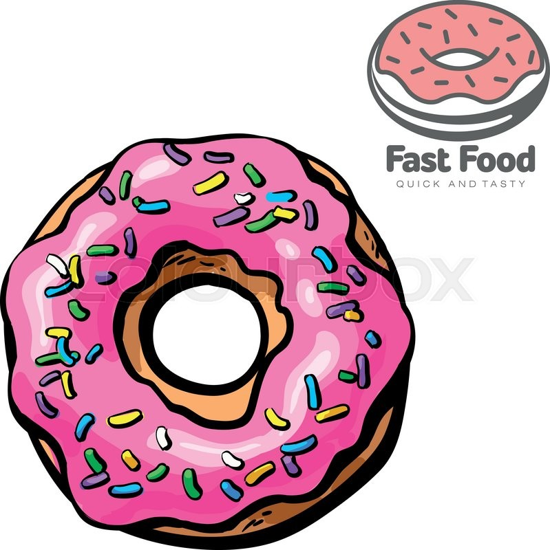 Logo And Set The Sketch Illustration Of Donut, Vector