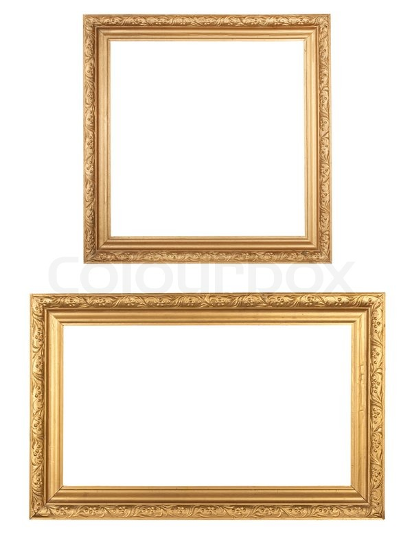 Two golden vintage wooden frames isolated on white | Stock Photo ...