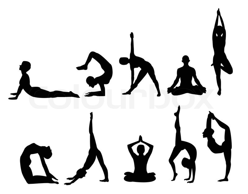 Yoga Pose Silhouettes In Various Poses Vector Format