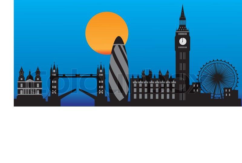 london skyline by night stock vector colourbox