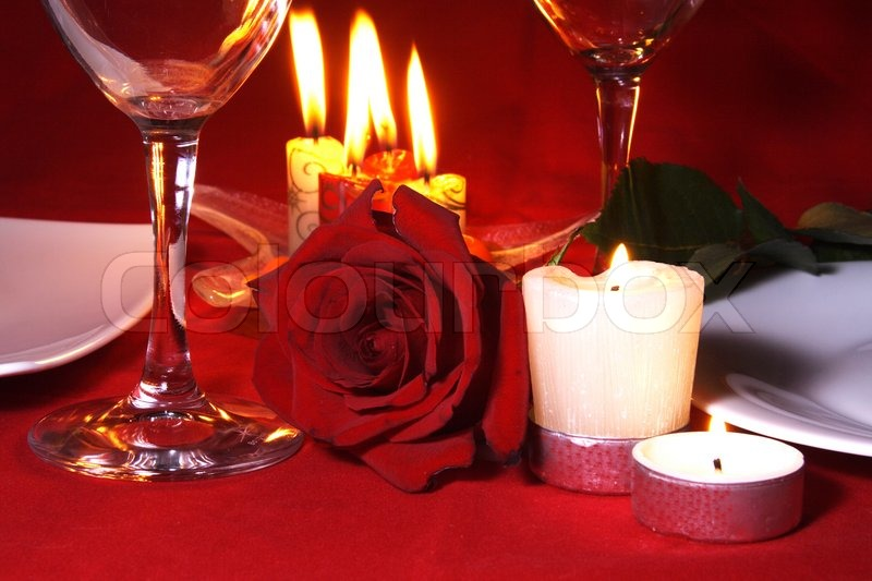 Stock image of 'Table Arrangement for Romantic Dinner for Two'