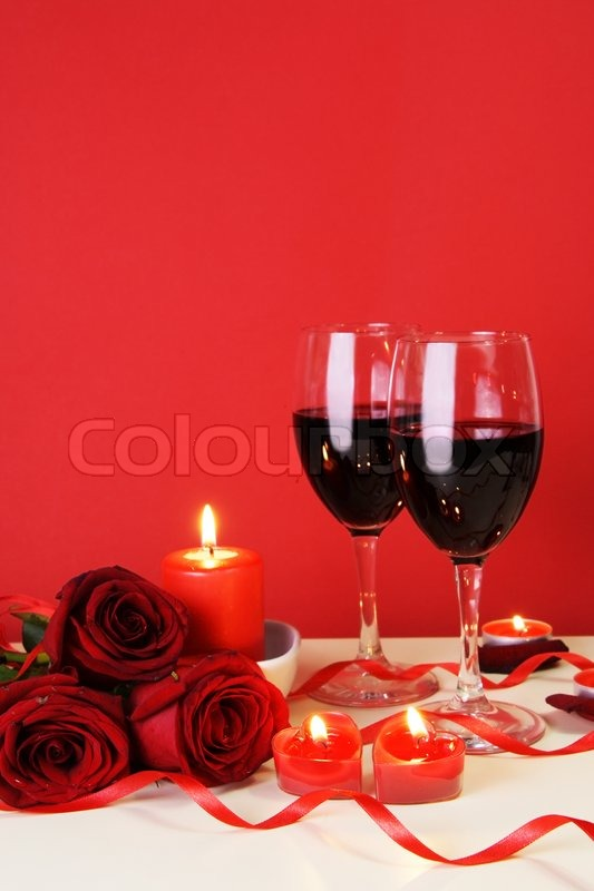 Romantic Candlelight Dinner For Two Lovers Concept