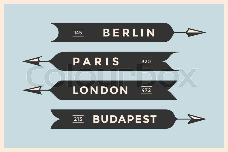 Stock Vector Of Set Vintage Arrows And Banners With Names Different Cities Berlin