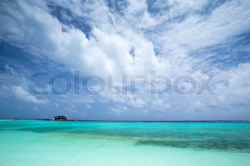 Tropical beach in Maldives with few palm trees and blue lagoon, stock photo