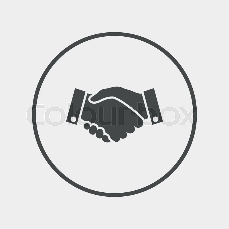 Handshake sign icon. Successful business symbol. Flat handshake icon. Simple design handshake symbol. Handshake graphic element. Round button with flat handshake icon. Vector, vector