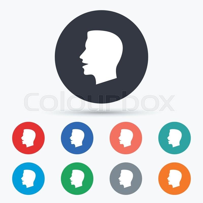 Talk Or Speak Icon Loud Noise Symbol Human Talking Sign Circle
