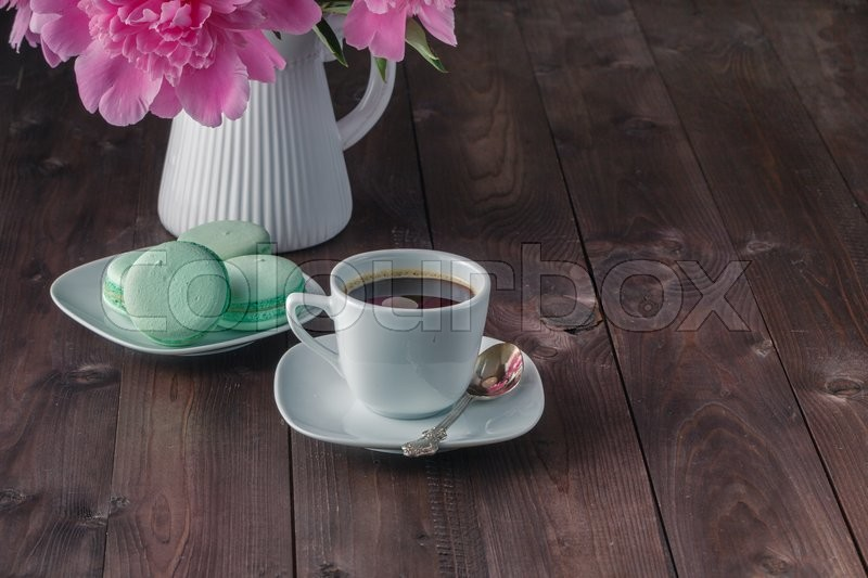 Cup coffee and flowers peonies, stock photo