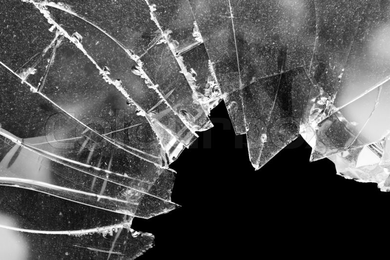 Stock image of 'Accident cracked damaged broken house window glass'